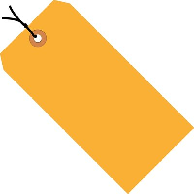 "6 1/4 x 3 1/8"" Fluorescent Orange 13 Pt. Shipping Tags - Pre-Strung"
