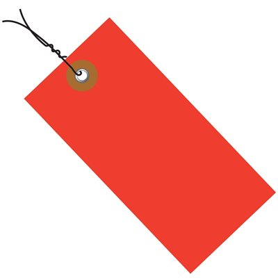 """4 1/4 x 2 1/8"""" Red Tyvek® Pre-Wired Shipping Tag"""