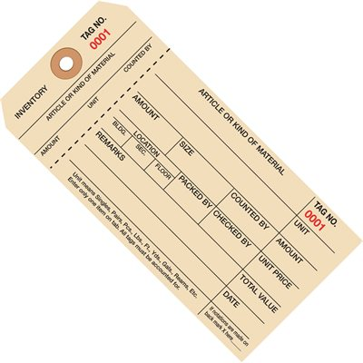 """6 1/4 x 3 1/8"""" - (3000-3999) Inventory Tags 1 Part Stub Style #8"""