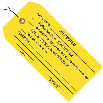 """4 3/4 x 2 3/8"""" - """"Inspected"""" Inspection Tags - Pre-Wired"""