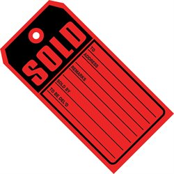 "4 3/4 x 2 3/8"" - ""Sold Tags"" 10 Point Card Stock"