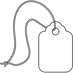 "3/4 x 1 3/32"" White Merchandise Tags - Pre-Strung"