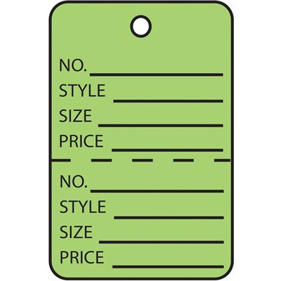 """1 1/4 x 1 7/8"""" Green Perforated Garment Tags"""