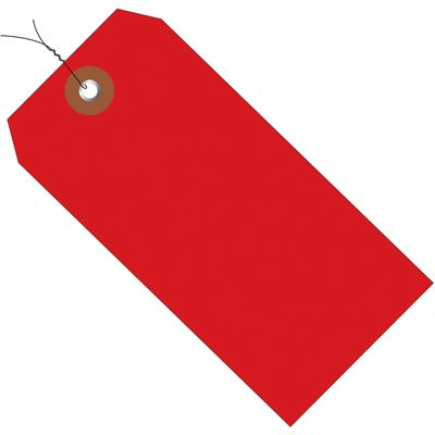 """4 3/4 x 2 3/8"""" Red Plastic Shipping Tags - Pre-Wired"""
