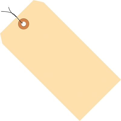 """3 3/4 x 1 7/8"""" 10 Pt. Manila Shipping Tags - Pre-Wired"""
