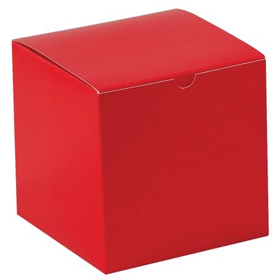 """6 x 6 x 6"""" Holiday Red Gift Boxes"""