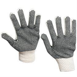 PVC Black Dot Knit Gloves - Medium