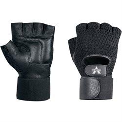 Mesh Material Handling Fingerless Gloves w/ Wrist Strap - Large