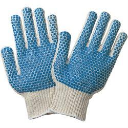 PVC Blue Dot Knit Gloves - Small