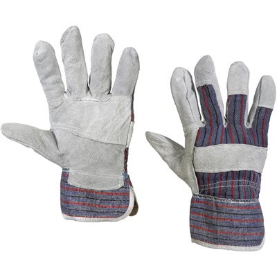 Leather Palm w/ Safety Cuff Gloves - Large