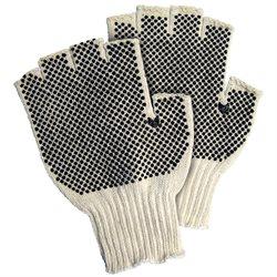 Fingerless PVC Dot Knit Gloves - Small