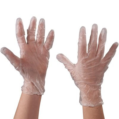 Vinyl Gloves- Clear - 3 Mil Powdered - Small
