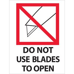"3 x 4"" - ""Do Not Use Blades to Open"" Labels"