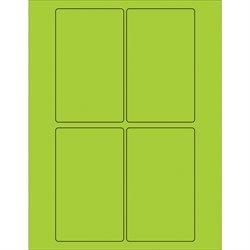 "3 x 5"" Fluorescent Green Rectangle Laser Labels"