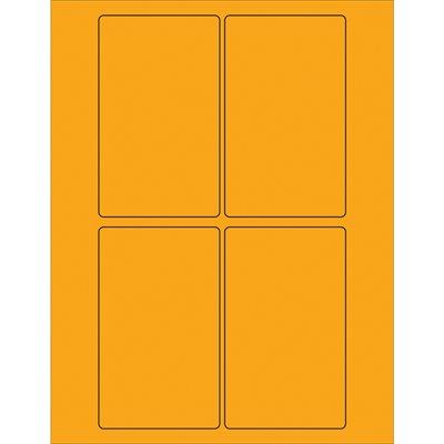 "3 x 5"" Fluorescent Orange Rectangle Laser Labels"