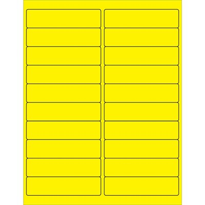 """4 x 1"""" Fluorescent Yellow Rectangle Laser Labels"""