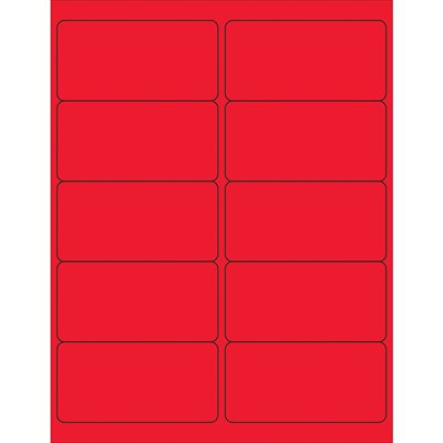 """4 x 2"""" Fluorescent Red Rectangle Laser Labels"""