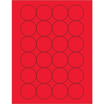 """1 2/3"""" Fluorescent Red Circle Laser Labels"""
