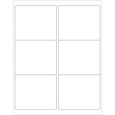 """4 x 3 1/3"""" Glossy White Rectangle Laser Labels"""