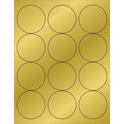 """2 1/2"""" Gold Foil Circle Laser Labels"""