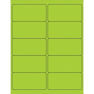 """4 x 2"""" Fluorescent Green Removable Rectangle Laser Labels"""