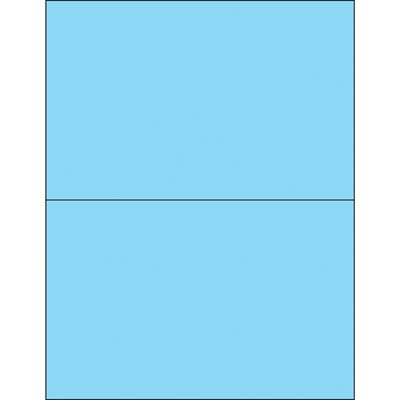 "8 1/2 x 5 1/2"" Fluorescent Pastel Blue Removable Rectangle Laser Labels"