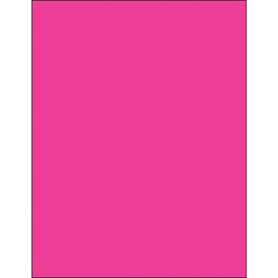 """8 1/2 x 11"""" Fluorescent Pink Removable Rectangle Laser Labels"""