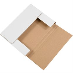 """11 1/8 x 8 5/8 x 1"""" White Easy-Fold Mailers"""