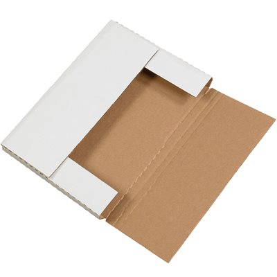 """12 1/8 x 9 1/8 x 1"""" White Easy-Fold Mailers"""