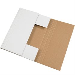 """14 1/8 x 8 5/8 x 2"""" White Easy-Fold Mailers"""