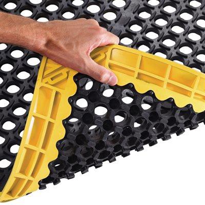 """38 x 64"""" Black/Yellow Safety Drainage Mat"""
