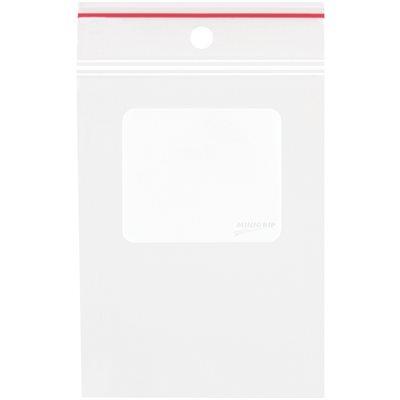 "5 x 8"" - 4 Mil Minigrip® White Block Reclosable Poly Bags w/ Hang Holes"