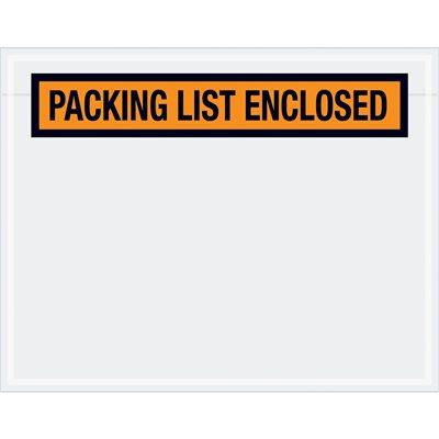 "7 x 5 1/2"" Orange ""Packing List Enclosed"" Envelopes"