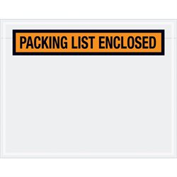 "7 x 5 1/2"" Orange ""Packing List Enclosed"" Envelopes"