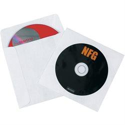 """4 7/8 x 5"""" Tyvek® Windowed White CD/DVD Sleeves"""