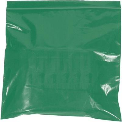 """3 x 5"""" - 2 Mil Green Reclosable Poly Bags"""