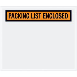"6 1/2 x 5"" Orange ""Packing List Enclosed"" Envelopes"