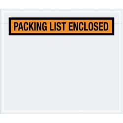 "7 x 6"" Orange ""Packing List Enclosed"" Envelopes"