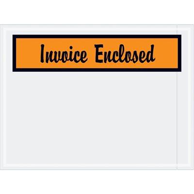 """4 1/2 x 6"""" Orange """"Invoice Enclosed"""" Envelopes"""