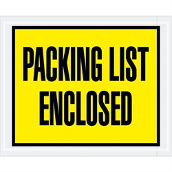 "4 1/2 x 5 1/2"" Yellow ""Packing List Enclosed"" Envelopes"
