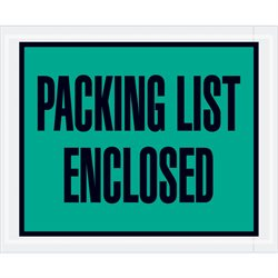 "4 1/2 x 5 1/2"" Green ""Packing List Enclosed"" Envelopes"