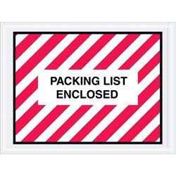 "4 1/2 x 6"" Red (Striped) ""Packing List Enclosed"" Envelopes"