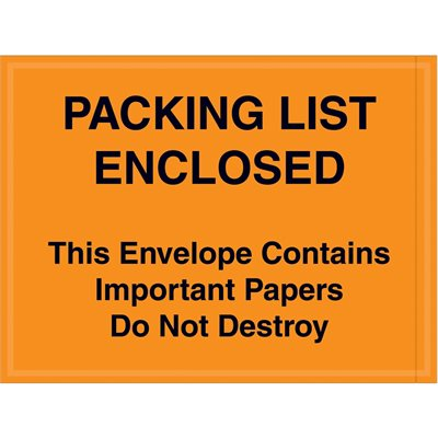 "4 1/2 x 6"" Orange ""Important Papers Enclosed"" Envelopes"