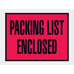 "4 1/2 x 6"" Red (Open End) ""Packing List Enclosed"" Envelopes"