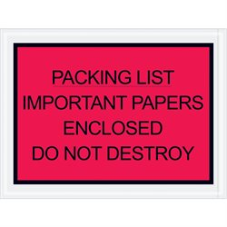 "4 1/2 x 6"" Red ""Important Papers Enclosed"" Envelopes"
