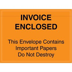 "4 1/2 x 6"" Orange ""Important Papers Enclosed"" Envelopes"
