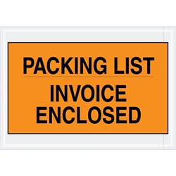 "7 x 10"" Orange ""Packing List/Invoice Enclosed"" Envelopes"