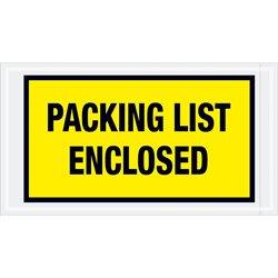 "5 1/2 x 10"" Yellow ""Packing List Enclosed"" Envelopes"