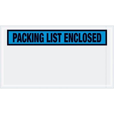"5 1/2 x 10"" Blue ""Packing List Enclosed"" Envelopes"