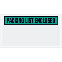 "5 1/2 x 10"" Green ""Packing List Enclosed"" Envelopes"